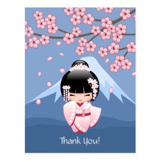Carte Postale Poupée blanche de Kokeshi de kimono - Merci mignon