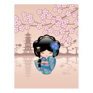 Carte Postale Poupée de Keiko Kokeshi - fille de geisha bleue de