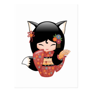 Carte Postale Poupée de Kitsune Kokeshi - fille de geisha de Fox