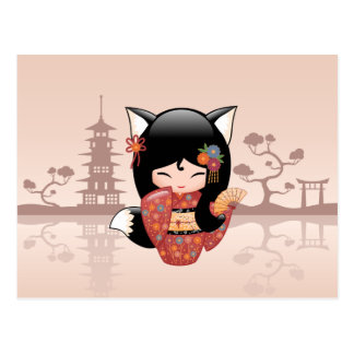 Carte Postale Poupée de Kitsune Kokeshi - fille mignonne de Fox