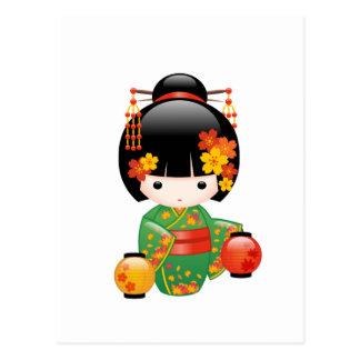 Carte Postale Poupée de Kokeshi de chute - fille de geisha