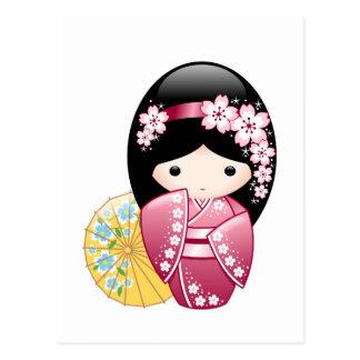 Carte Postale Poupée de Kokeshi de ressort - fille de geisha
