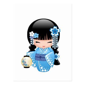 Carte Postale Poupée de Kokeshi d'hiver - fille de geisha