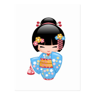 Carte Postale Poupée de Maiko Kokeshi - fille de geisha mignonne