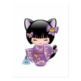 Carte Postale Poupée de Neko Kokeshi - fille de geisha