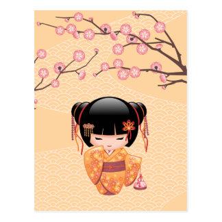 Carte Postale Poupée d'Ume Kokeshi - fille de geisha japonaise