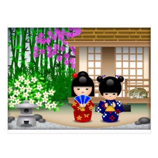 Carte Postale Poupées et salon de thé de Kokeshi
