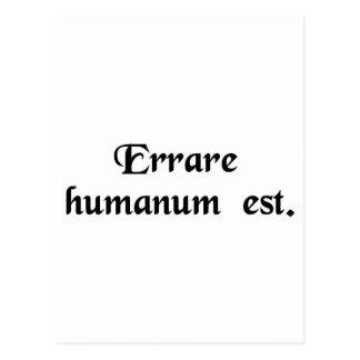 Carte Postale Pour errer est humain
