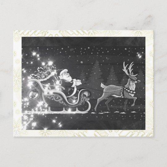 carte postale pour les f tes d cor noir et blanc vintage de p re no l de no l. Black Bedroom Furniture Sets. Home Design Ideas