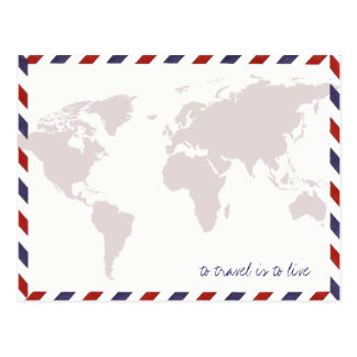 Carte Postale pour voyager est de vivre/worldmap