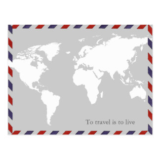 Carte Postale pour voyager est de vivre. worldmap