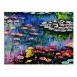 Carte postale pourpre de nénuphars de Monet
