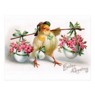 Carte Postale Poussin et fleurs de Pâques