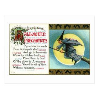 Carte Postale Précautions noires de sorcière de Halloween
