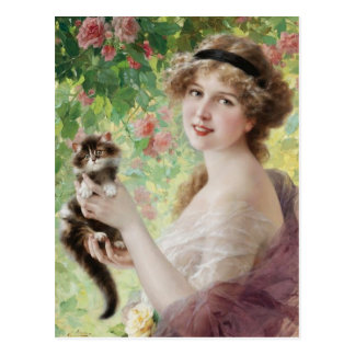 Carte postale précieuse de chaton d'Emile Vernon