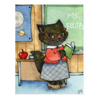 Carte Postale Premier jour d'école - art mignon de chat de