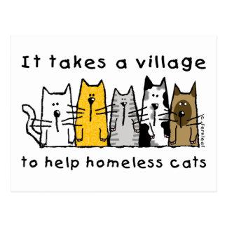 Carte Postale Prend à un sans-abri d'aide de village des chats