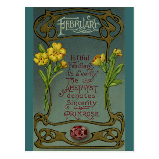 Carte Postale Primevère et améthyste d'anniversaire de février
