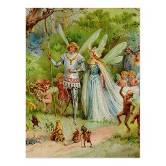 Carte Postale Prince féerique et Thumbelina dans le bois magique