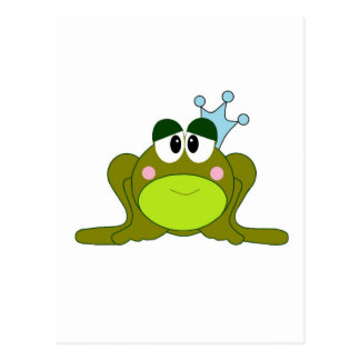 Carte Postale Prince With Blue Crown Cartoon de grenouille