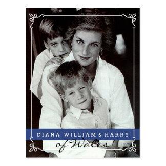 Carte Postale Princesse Diana du Pays de Galles et Harry
