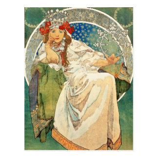 Carte Postale Princesse Hyacinth Postcard d'Alphonse Mucha
