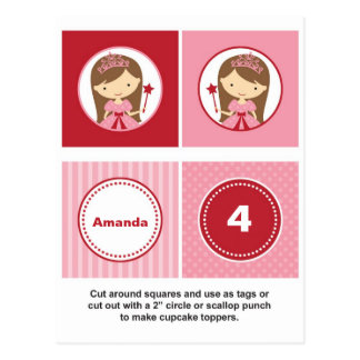 Carte Postale Princesse rose et rouge Cupcake Toppers