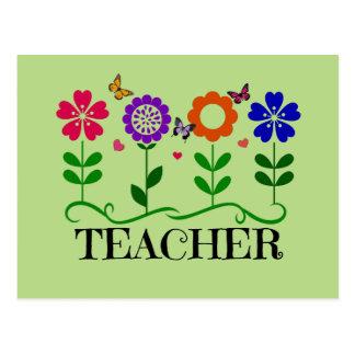 Carte Postale Professeur, coeurs et fleurs et jolis papillons
