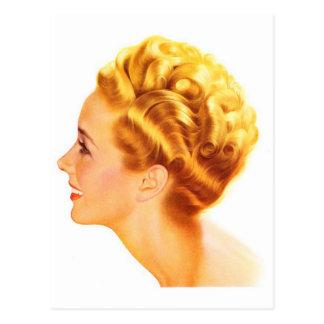 Carte Postale Profil vintage de classique de la fille Pin- de