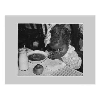 Carte Postale Programme de repas scolaire, les années 1930