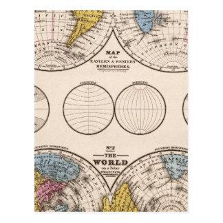 Carte Postale Projection équatoriale du monde et projection