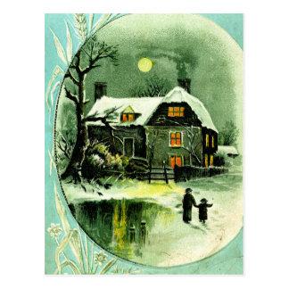 """Carte Postale """"Promenade éclairée par la lune """""""