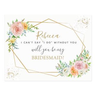 Carte Postale Proposition élégante florale et d'or de DEMOISELLE