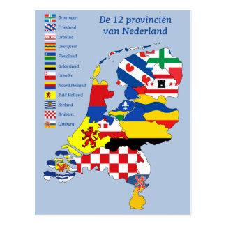 Carte Postale Province flag on le Map de Pays-Bas