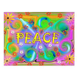 Carte postale psychédélique de paix
