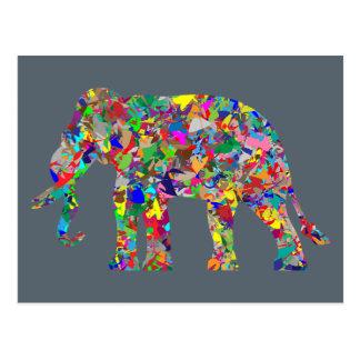 Carte postale psychédélique d'éléphant