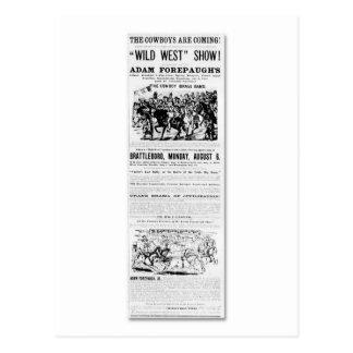 Carte Postale Publicité occidentale sauvage de l'exposition de