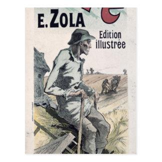 """Carte Postale Publicité par affichage """"La Terre"""" par Emile Zola,"""