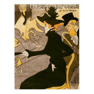 """Carte Postale Publicité par affichage """"Le Divan Japonais"""", 1892"""