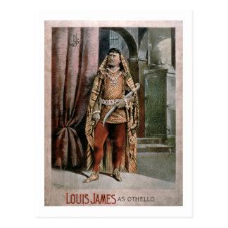 """Carte Postale Publicité pour """"Louis James comme Othello"""""""