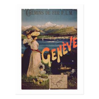 """Carte Postale Publicité pour """"P.L.M. Railways vers Genève"""" (col"""