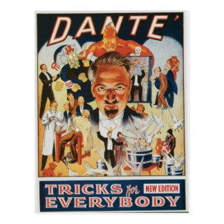 Carte Postale Publicité vintage de magicien de Dante