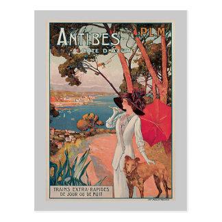Carte Postale Publicité vintage de voyage d'Antibes, France