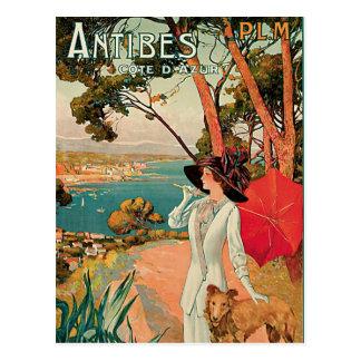 Carte Postale Publicité vintage de voyage d'Antibes France