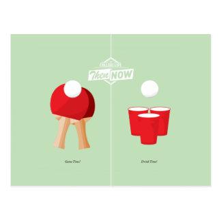 Carte Postale Puis et maintenant : Ping-pong