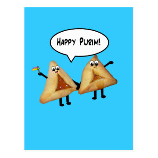 Carte Postale Purim heureux mignon Hamantaschen