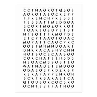 Carte Postale puzzle de recherche de mot de café