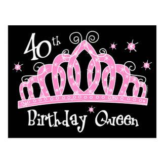 Carte Postale Quarantième reine DK d'anniversaire de diadème