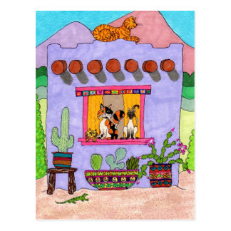 Carte Postale Quatre chats à une Chambre d'Adobe pourpre