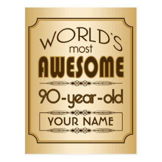 Carte Postale Quatre-vingt-dixième monde de célébration